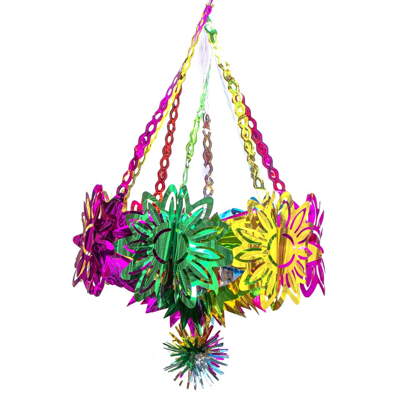 Новогоднее украшение - люстра звезда, D45 см, H80 см, разноцветный, ПВХ (610334)