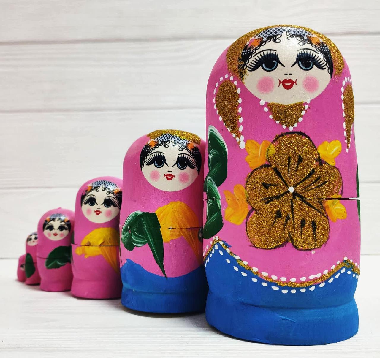 Набор деревянных расписных сувенирных матрешек 5 шт