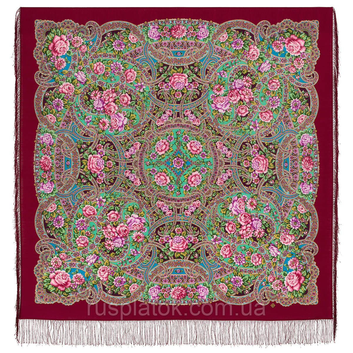 Улочки Посада 1912-,6 павлопосадский платок шерстяной  с шелковой бахромой