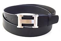 Кожаный черный ремень унисекс Hermes