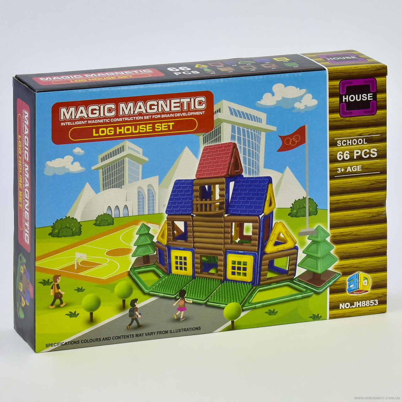 Конструктор магнітний JH 8853 (48) Школа, 66 деталей, в коробці