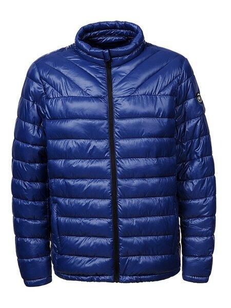 Мужская демисезонная синяя куртка в больших размерах без капюшона