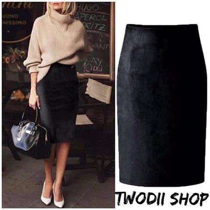 Стильная юбка-карандаш из замши 42-46 р, фото 2