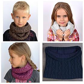 Зимний шарф хомут на флисе Зигзаг для детей, Разные цвета
