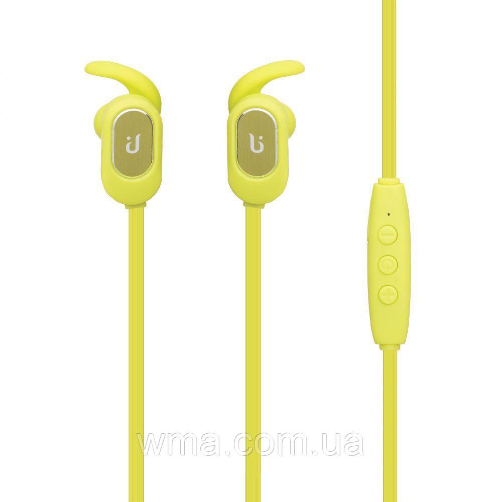 Наушники беспроводные (Bluetooth гарнитура) Borofone BE2 Magnetic Sport Цвет Зелёный