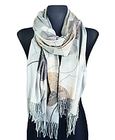Кашемировый шарф  Листья 180*60 см серый