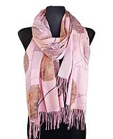 Кашемировый шарф  Листья 180*60 см розовый