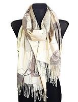 Кашемировый шарф  Листья 180*60 см молочный