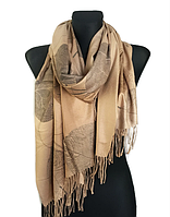 Кашемировый шарф  Листья 180*60 см кофе с молоком