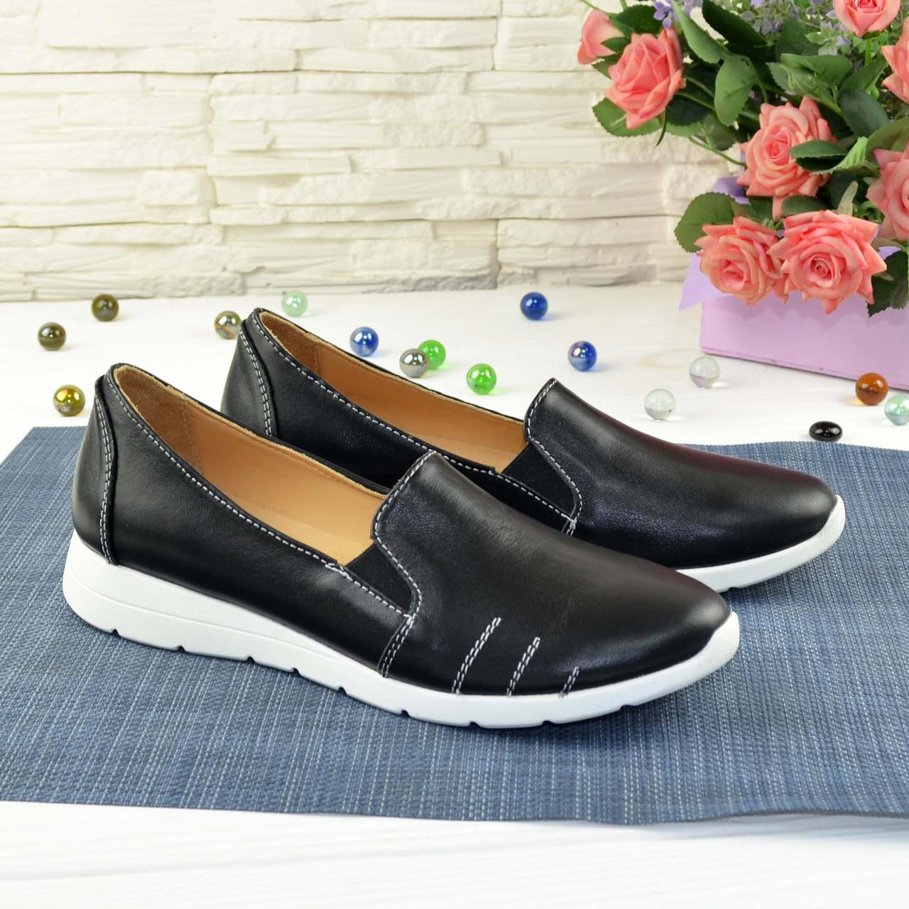 Туфли женские из натуральной кожи черного цвета