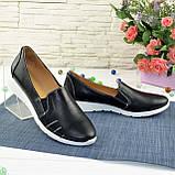 Туфли женские из натуральной кожи черного цвета, фото 2