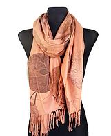 Кашемировый шарф  Листья 180*60 см карамель