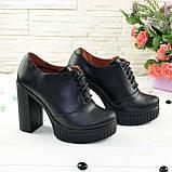 Женски кожаные туфли на тракторной подошве, на шнуровке., фото 2