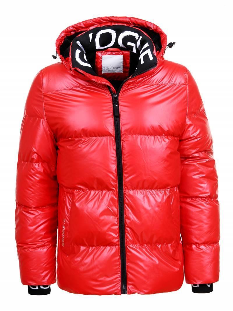 Мужская зимняя короткая лаковая куртка с капюшоном