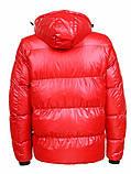 Мужская зимняя короткая лаковая куртка с капюшоном, фото 2