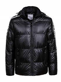Мужская зимняя лаковая куртка в черном цвете на меху