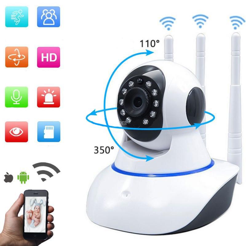 Камера видеонаблюдения WIFI Q5 ночная сьемка, три антены, запись. Веб вай фай, Web ip камера онлайн wi-fi.
