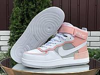 Женские кожаные зимние кроссовки на меху Nike Air Force 1 Shadow, фото 1