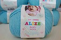 Нитки для вязания Baby Wool полушерсть голубой