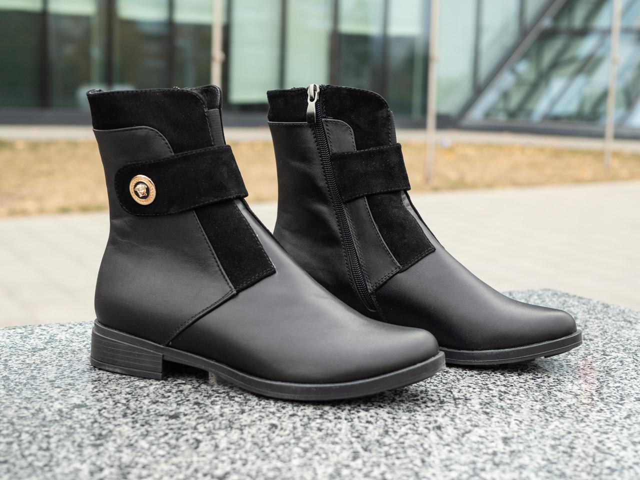 Чёрные женские ботинки  из натуральной кожи 36-41 черный