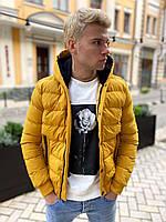 Стильная мужская куртка дутая жёлтая с капюшоном, фото 1