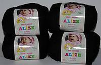 Нитки для вязания Baby Wool полушерсть черный