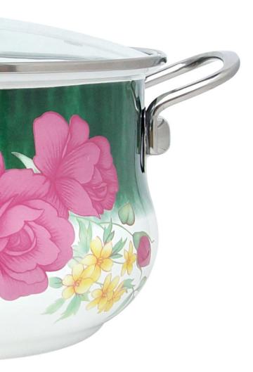 Эмалированная кастрюля с крышкой Benson BN-113 белая с цветочным декором (3.6 л)   кухонная посуда   кастрюли