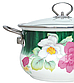 Эмалированная кастрюля с крышкой Benson BN-113 белая с цветочным декором (3.6 л)   кухонная посуда   кастрюли, фото 3