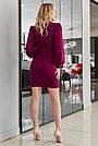Платье замшевое цвет марсала нарядное облегающее с пышными рукавами, фото 5