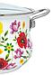 Эмалированная кастрюля с крышкой Benson BN-117 белая с цветочным декором (2.7 л) | кухонная посуда | кастрюли, фото 2