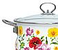Эмалированная кастрюля с крышкой Benson BN-117 белая с цветочным декором (2.7 л) | кухонная посуда | кастрюли, фото 4