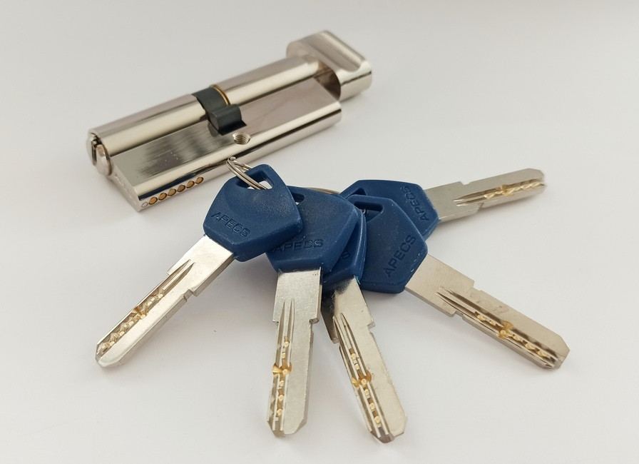 Цилиндр Apecs Standart EM-90-C-NI никель ключ/поворотник