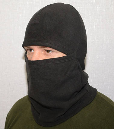 Балаклава з мікрофліса 3 в1 (шапка-шарф-балаклава) чорна (антрацит), фото 2