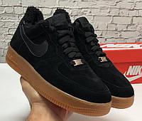 Nike Air Force Low Black Gum (мех) | кроссовки мужские; зимние; черные; замшевые; найк; с мехом
