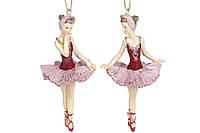 Декоративная подвесная фигурка Балерина, 11см, 2 вида, цвет - бордо с розовым, упаковке 6шт. (707-850)