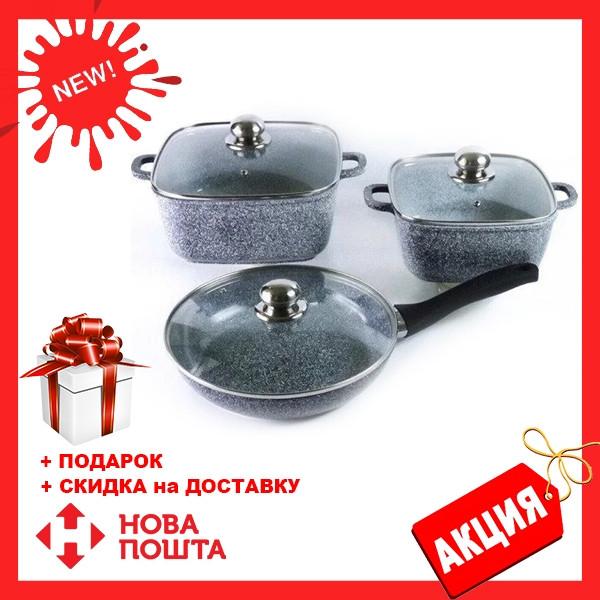 Набор посуды Benson BN-326 (6 предметов) гранитное покрытие   кастрюля с крышкой   кастрюли   сковорода Бенсон