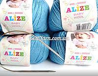 Нитки для вязания Baby Wool полушерсть св синий