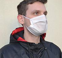 Маска для лица тканевая MHZ трехслойная, белая, фото 2