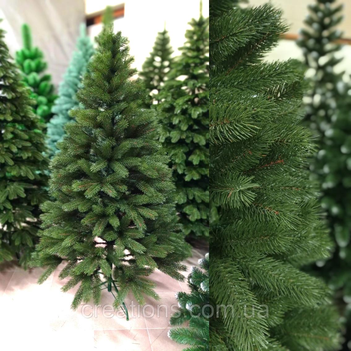 Искусственная Елка Элитная 1.8 м. литая Буковельская зеленая, реалистичная новогодняя, натуральная