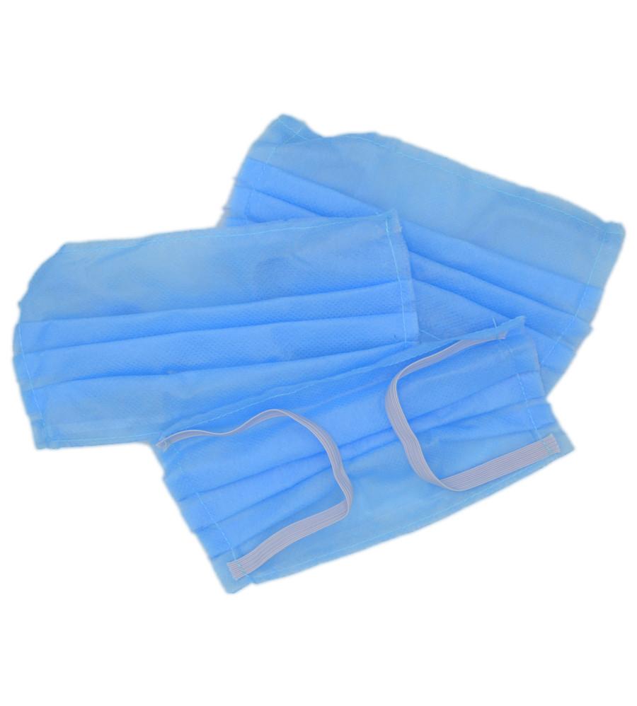Маска для лица тканевая MHZ трехслойная (спанбонд-мельтблаун-спанбонд), голубая
