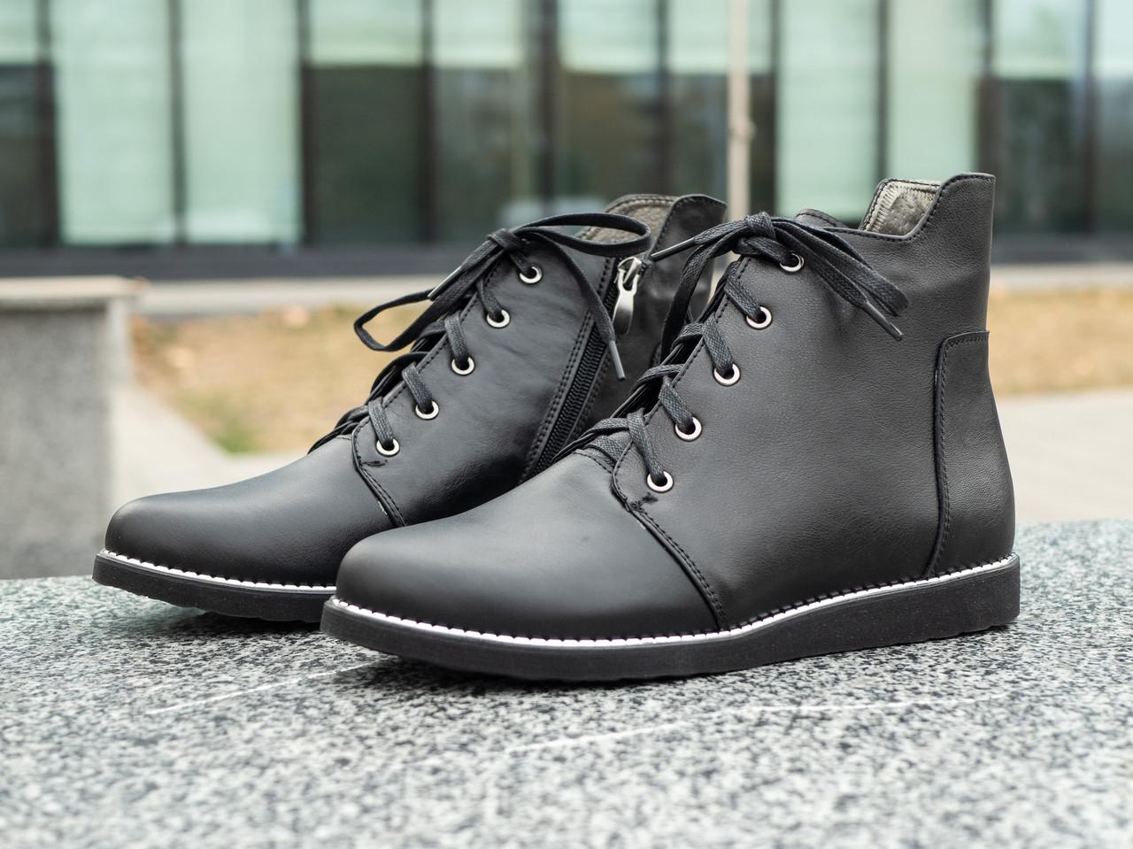 Женские весенние ботинки  кожаные 36-41 черный
