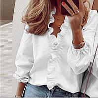 Блузка женская с длинным рукавом. Цвет: белый, чёрный. Размеры: 42-46, 48-52.