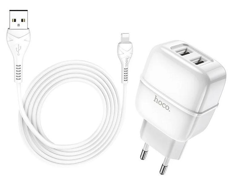 Зарядное устройство, адаптер для телефона, планшета HOCO Lightning cable Highway C77A 2USB, 2.4A, белый