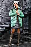 Куртка брендовая женская зимняя стеганая (оливковый, р.XL), фото 6