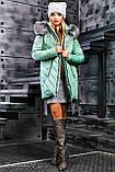 Куртка брендовая женская зимняя стеганая (оливковый, р.XL), фото 2