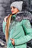 Куртка брендовая женская зимняя стеганая (оливковый, р.XL), фото 4