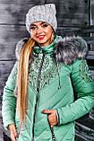 Куртка брендовая женская зимняя стеганая (оливковый, р.XL), фото 3
