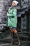 Куртка брендовая женская зимняя стеганая (оливковый, р.XL), фото 7