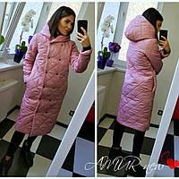 Женская зимняя куртка-пальто синтепон 200 норма и батал новинка 2020 цвет фреза.