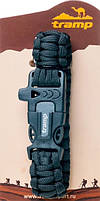 Браслет выживальщика з паракорда Tramp TRA-232 зі свистком і кресалом, чорний, фото 6